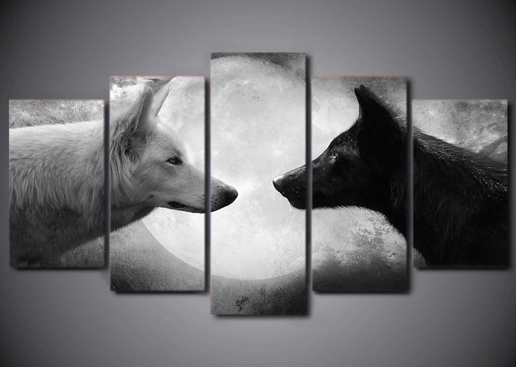 Tableau de deux loups sous la lune