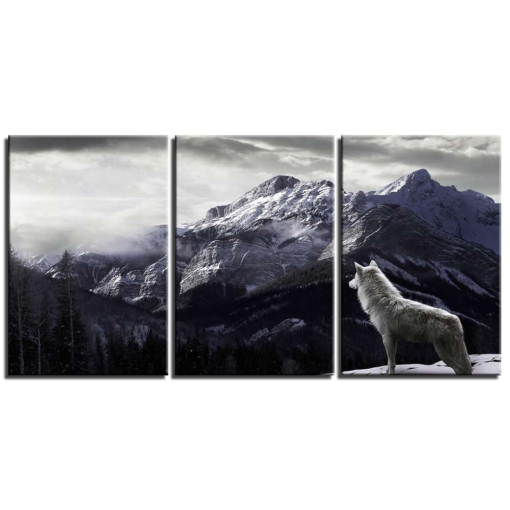 Tableau loup blanc à la montagne
