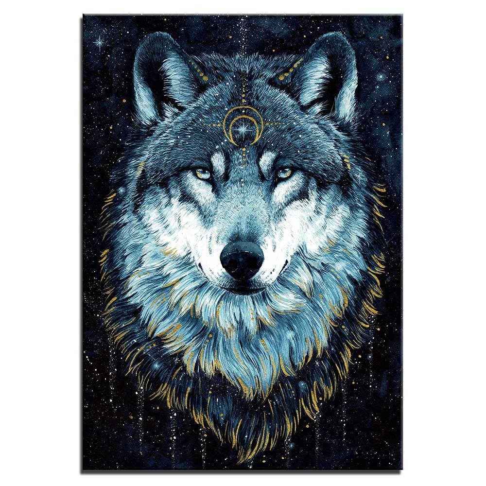 Tableau tête de loup cosmique