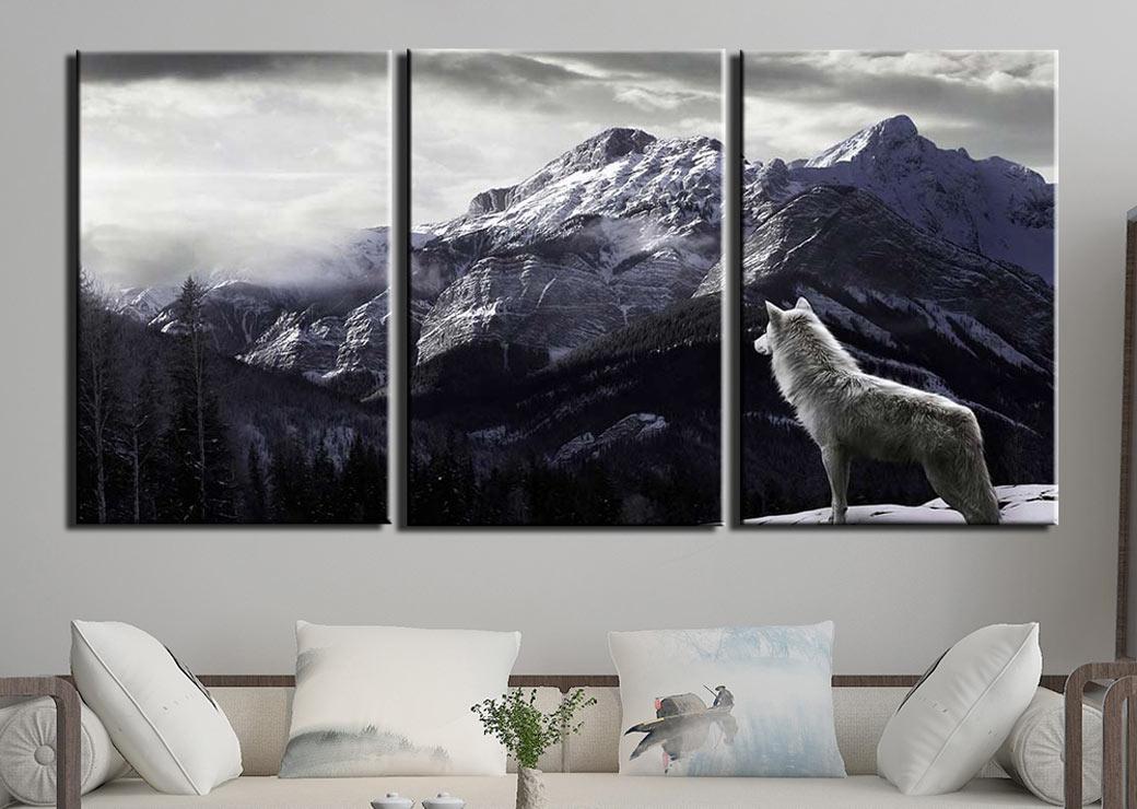 tableau-loup-blanc-montagne