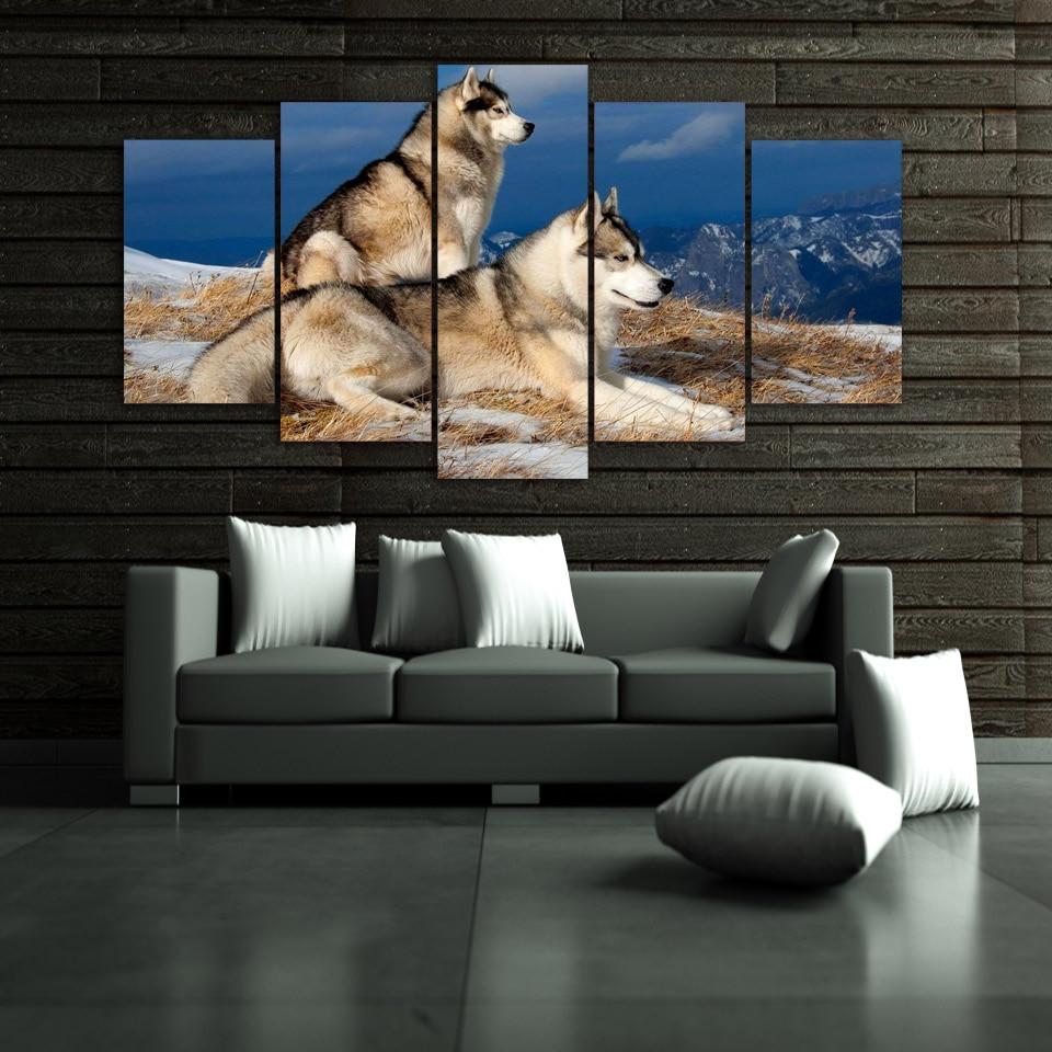 Tableau deux chiens Husky