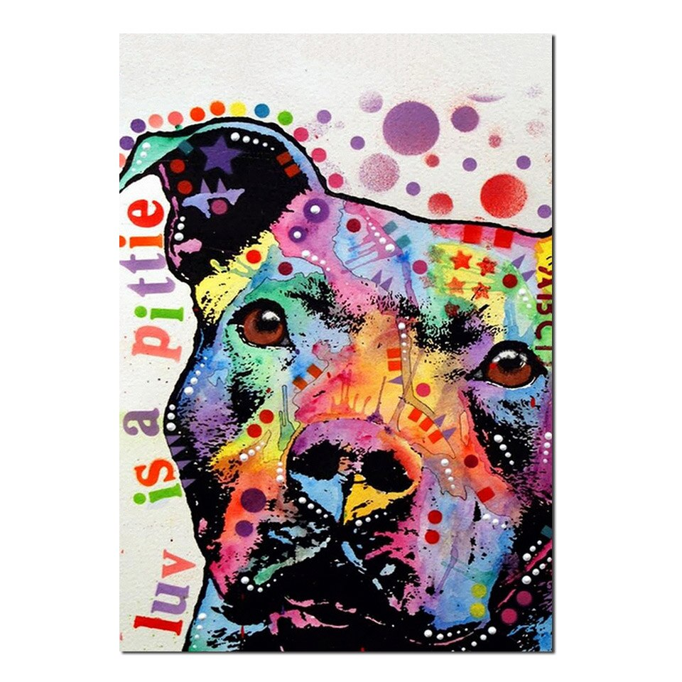 Tableau chien peinture abstraite