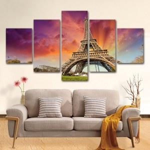 Tableau tour Eiffel et coucher de soleil