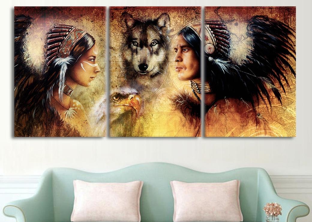 Tableau Amérindiens et animaux totem