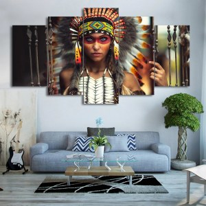 Tableau Guerrière Amérindienne