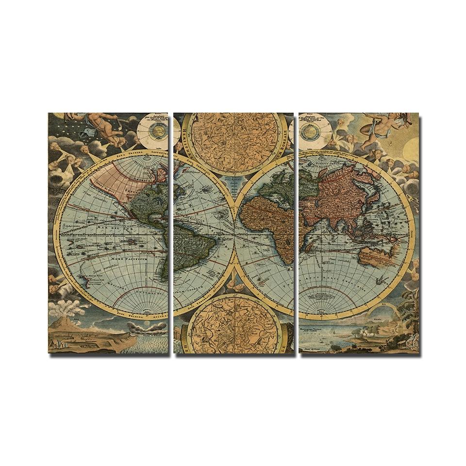Tableau carte ancienne du monde