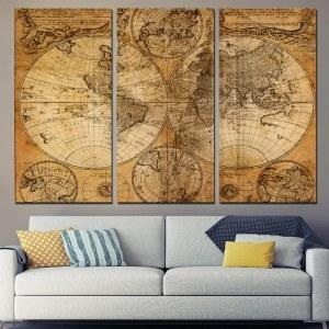 Tableau carte antique du monde