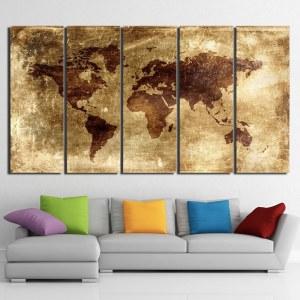 Tableau carte du monde ambré