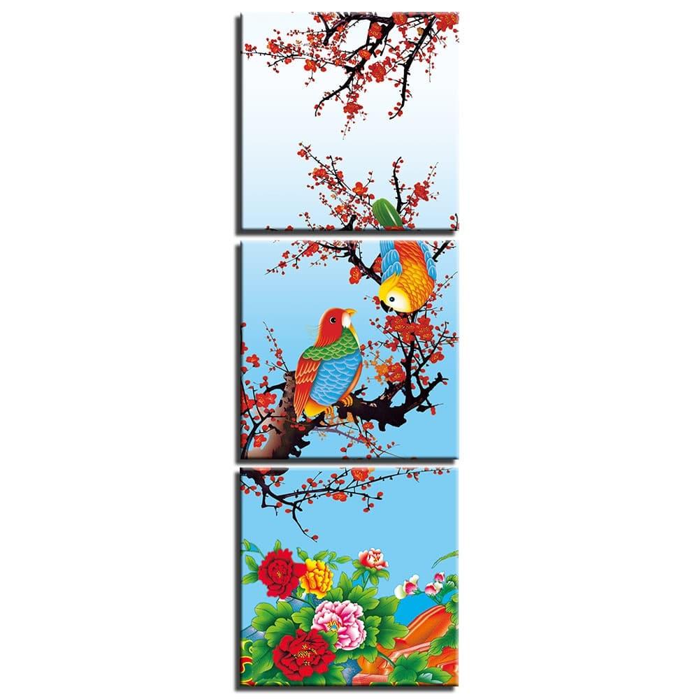 Tableau oiseaux sur une branche