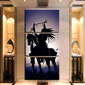 Tableau ombre d'Amérindien à cheval