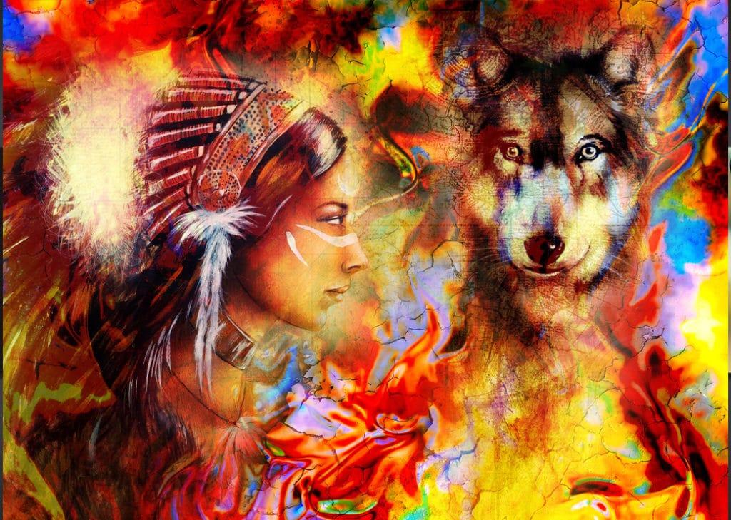 Tableau d'une améridienne et de son loup