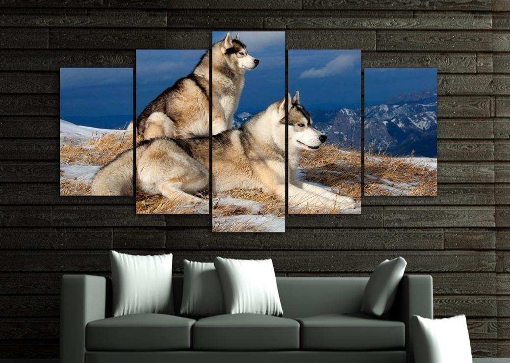 tableau-deux-chiens-husky