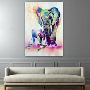 Tableau éléphant et éléphanteau