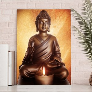 Tableau Bouddha assis devant une bougie