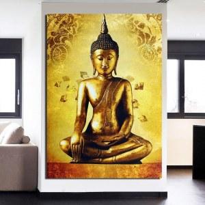 Tableau Bouddha assis doré