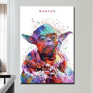 Tableau Maître Yoda pop fond blanc