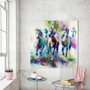 Tableau abstrait peinture de chevaux