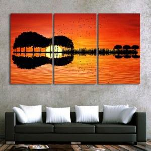 Tableau arbre et coucher du soleil