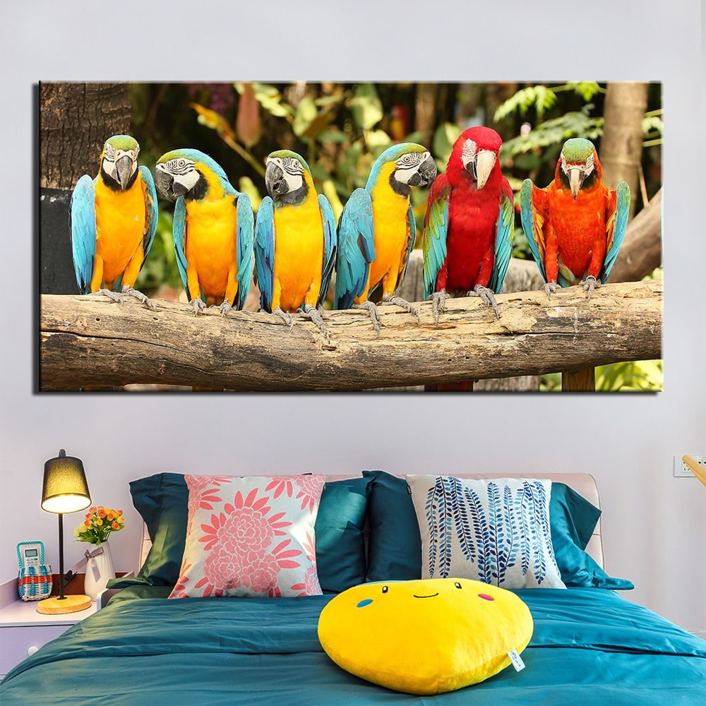 Tableau branche de perroquets