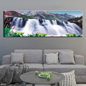 Tableau cascade et montagne