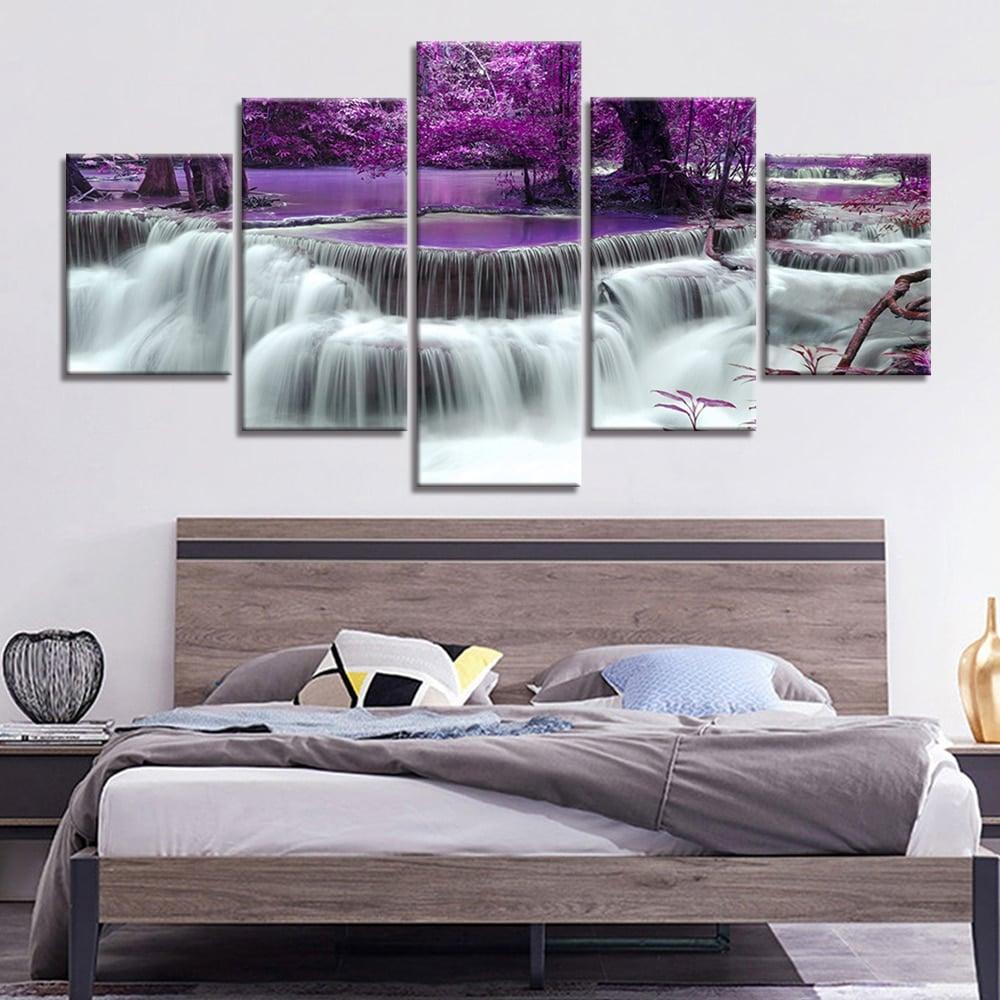 Tableau cascade et paysage violet