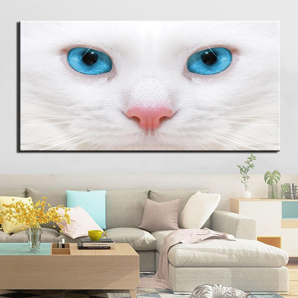 Tableau chat blanc