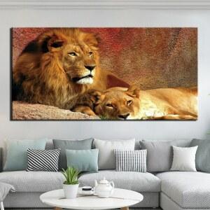 Tableau couple de lions