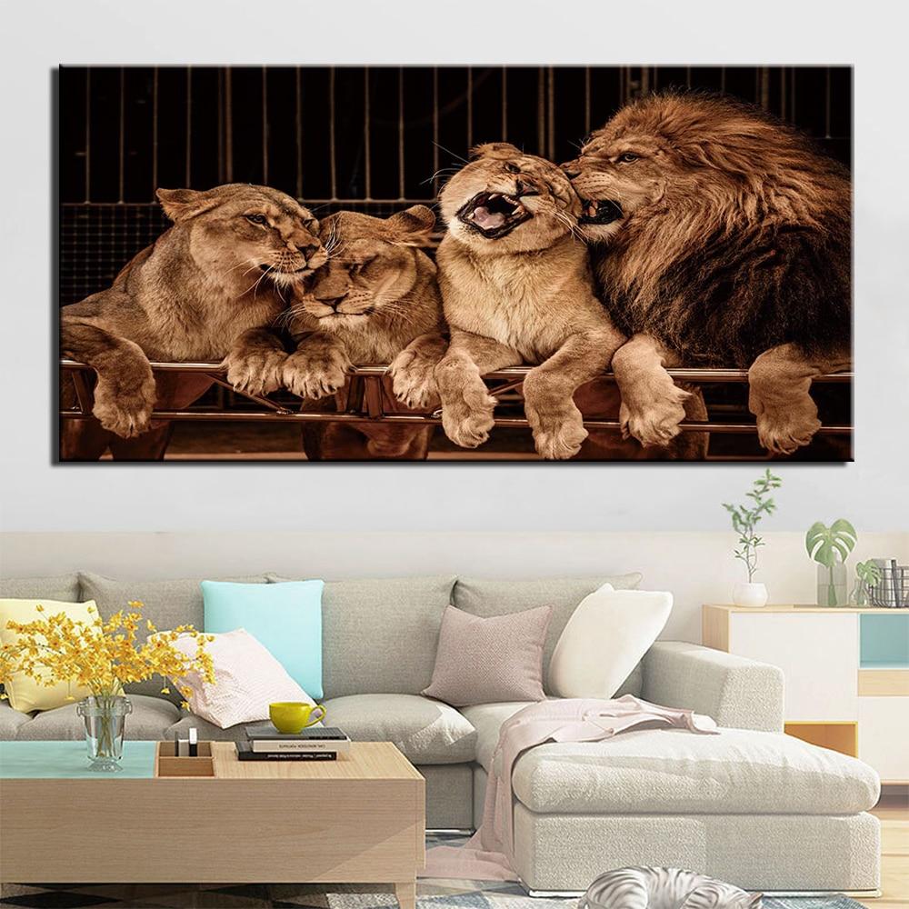 Tableau famille de lions