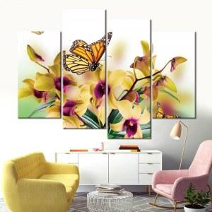 Tableau papillon et orchidée jaune