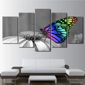 Tableau papillon multicolor sur fond noir et blanc