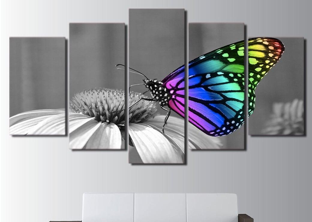 Tableau papillon multicolore sur fond noir et blanc