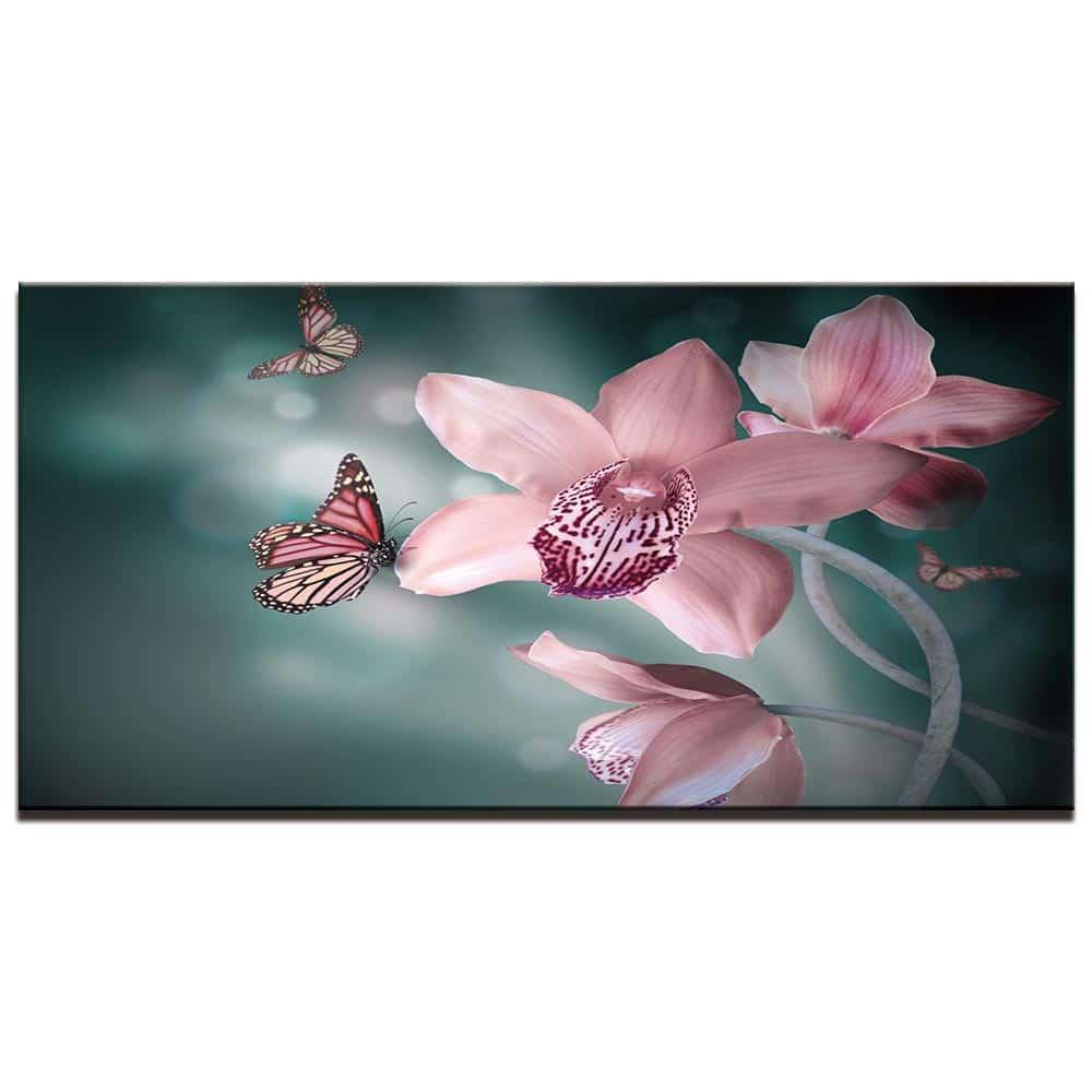 Tableau papillon sur orchidées