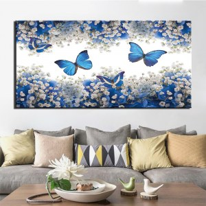 Tableau papillons bleu