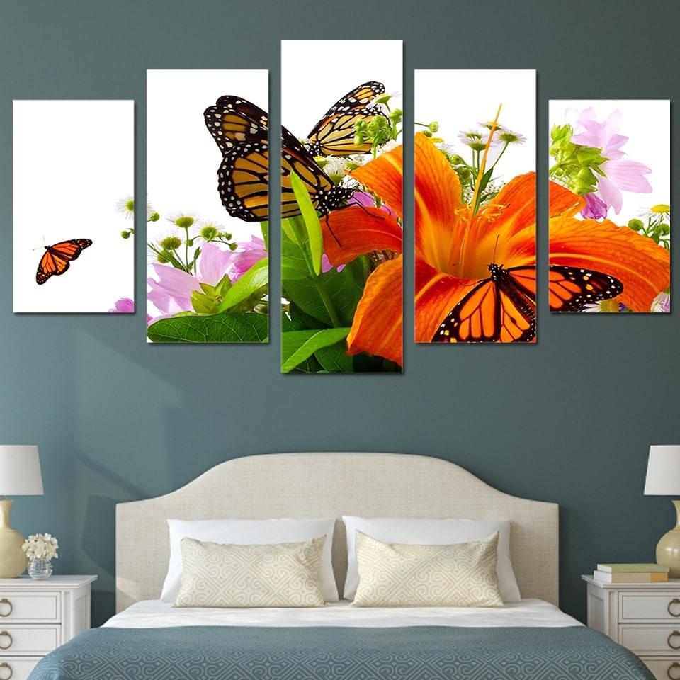 Tableau papillons et fleurs de lys