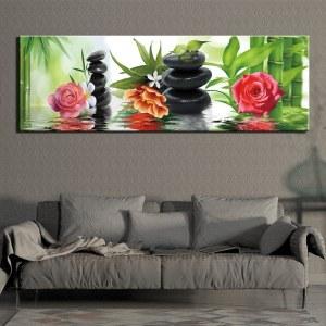 Tableau peinture de galets et roses