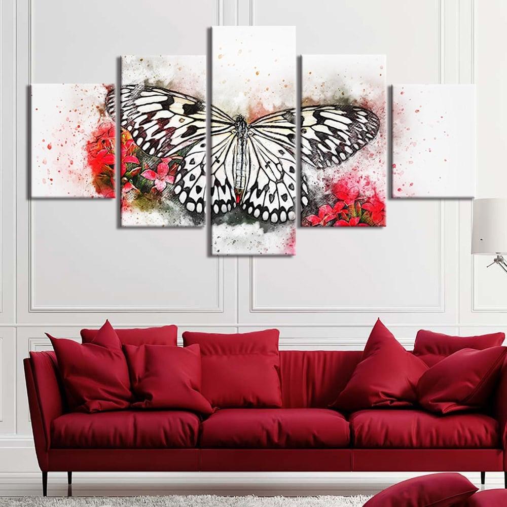 Tableau peinture papillon noir et blanc