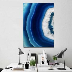 Tableau pierre d'agate cristal bleu
