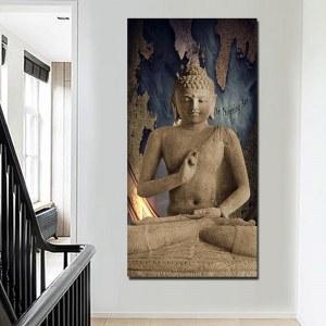 Tableau sculpture Bouddha et carte du monde