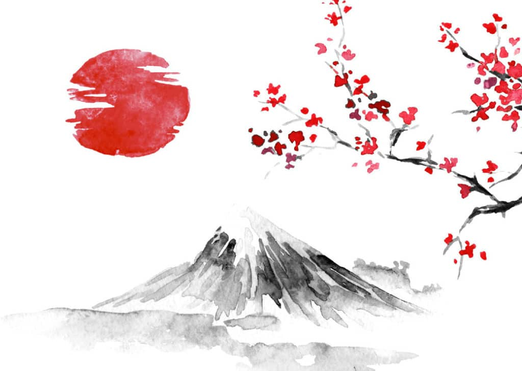 Tableau Japonais représentant une montagne et un cerisier