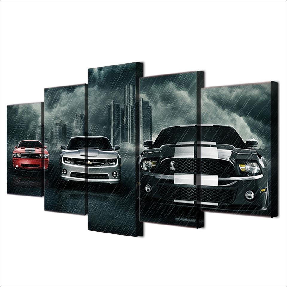 Tableau 3 voitures sous la pluie