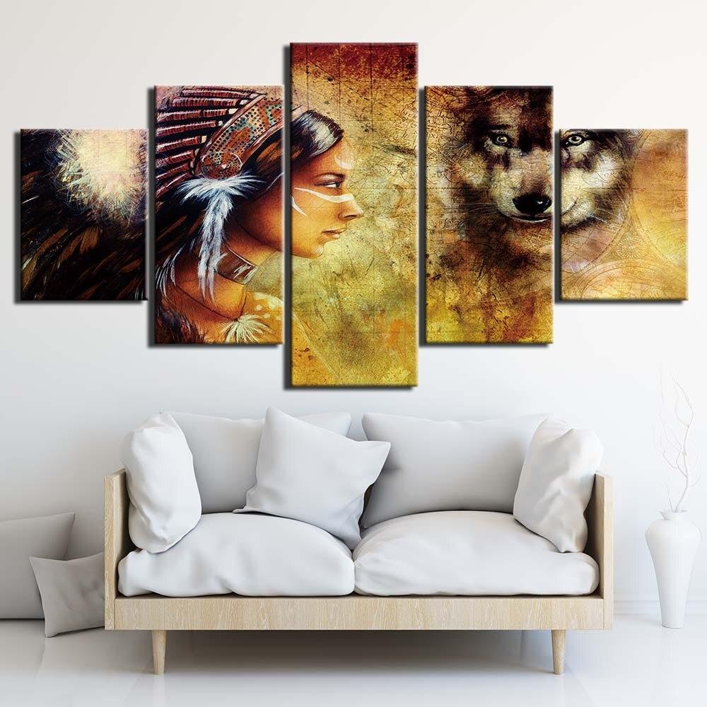 Tableau Amérindienne esprit loup