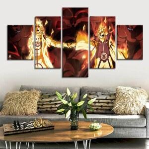 Tableau Naruto et Sasuke feu
