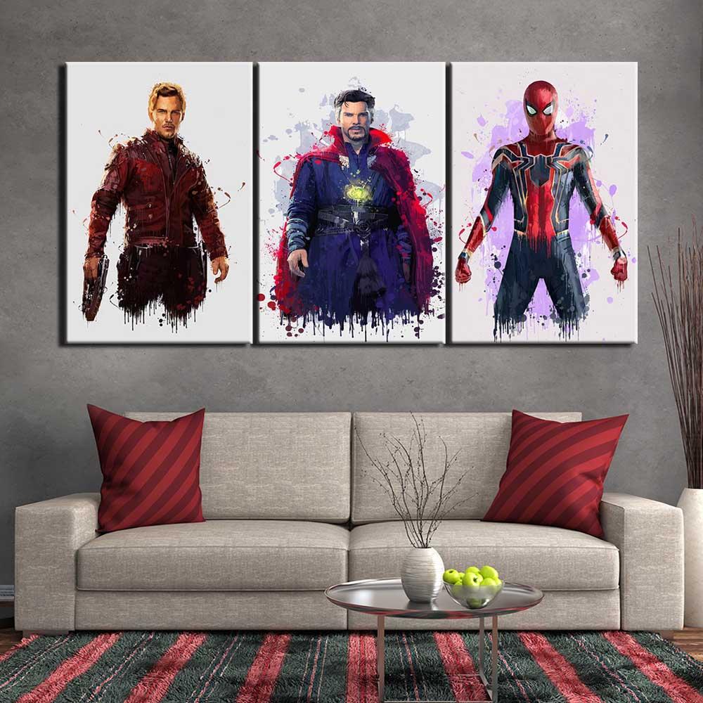 Tableau Star-Lord, Docteur Strange et SpiderMan