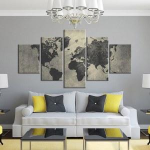 Tableau carte du monde grisée