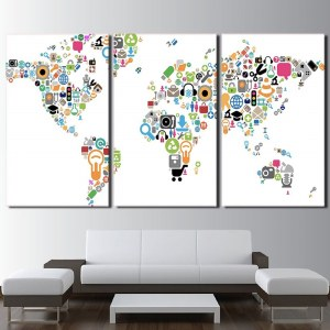 Tableau carte du monde logos