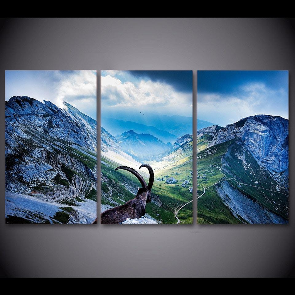 Tableau chamois en montagne