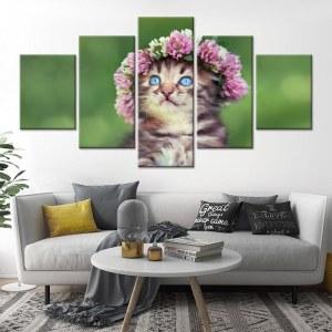 Tableau chat couronne de fleur