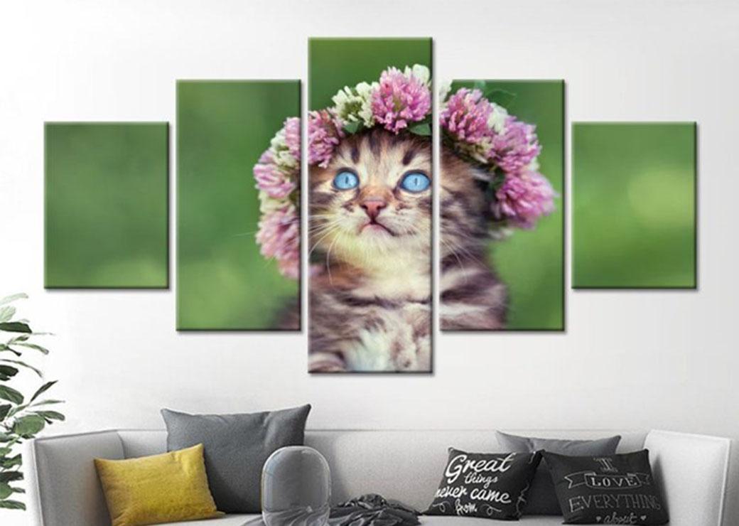 Tableau-chat-couronne-de-fleurs