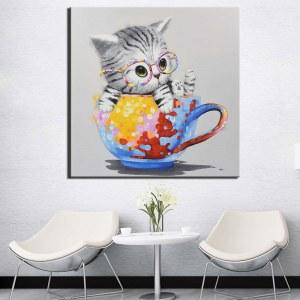 Tableau chat dans une tasse