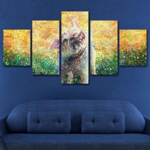Tableau chien éclaboussure multicolore
